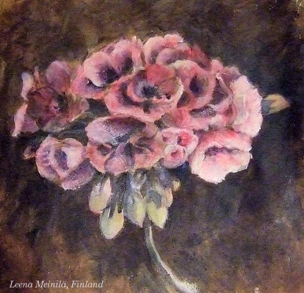 By Leena Meinilä, Finland. Student artwork from Peony and Parakeet's class Floral Fantasies in 3 Styles.