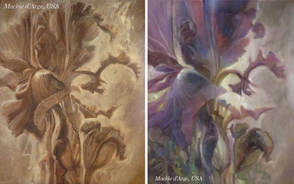 By Mackie d'Arge, USA. By Stephanie Carney, USA. Student artwork from Peony and Parakeet's class Floral Fantasies in 3 Styles.