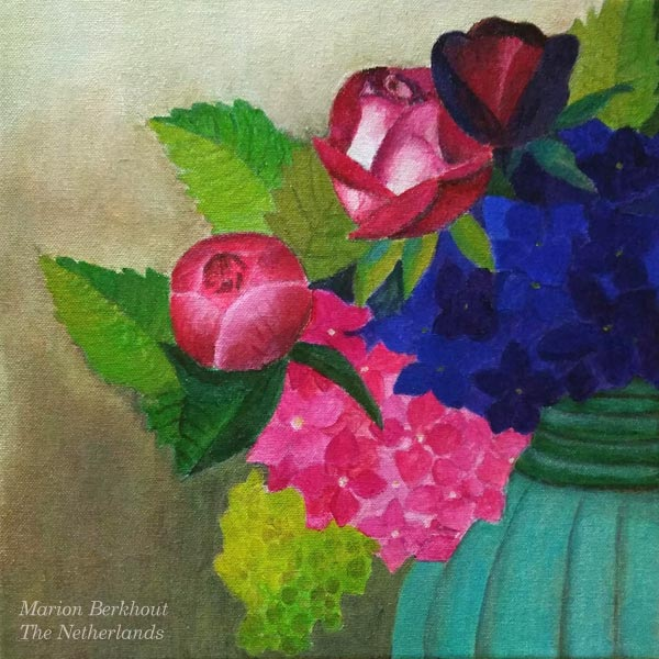By Marion Berkhout, The Netherlands. Student artwork from Peony and Parakeet's class Floral Fantasies in 3 Styles.
