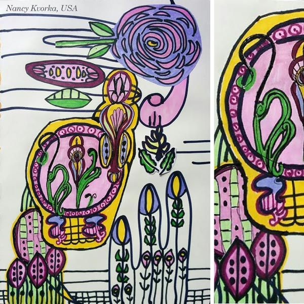 By Nancy Kvorka, USA. Student artwork from Peony and Parakeet's class Floral Fantasies in 3 Styles.