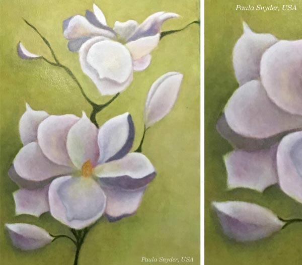 By Paula Sneider, USA. Student artwork from Peony and Parakeet's class Floral Fantasies in 3 Styles.