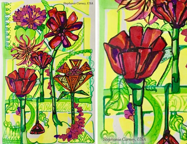 By Stephanie Carney, USA. Student artwork from Peony and Parakeet's class Floral Fantasies in 3 Styles.