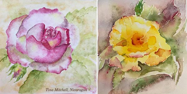 By Tina Mitchell, Nicaragua. Student artwork from Peony and Parakeet's class Floral Fantasies in 3 Styles.