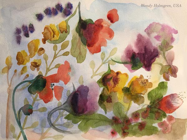 By Wendy Holmgren, USA. By Stephanie Carney, USA. Student artwork from Peony and Parakeet's class Floral Fantasies in 3 Styles.