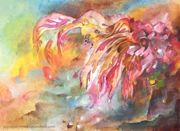 Blooming Cactus, a mixed media painting by Paivi Eerola from Peony and Parakeet. Watch her video about how to create this and add visual depth to your art!