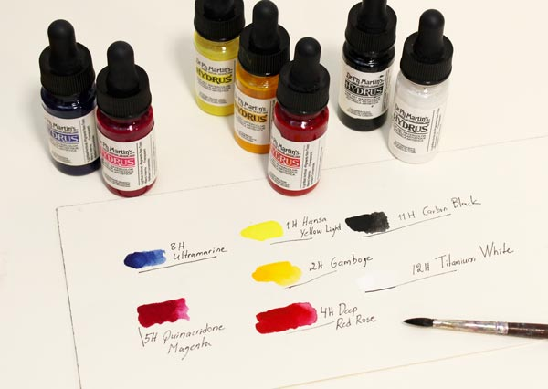 Dr Ph Martin's Hydrus watercolors. They have a very strong pigment so use carefully!