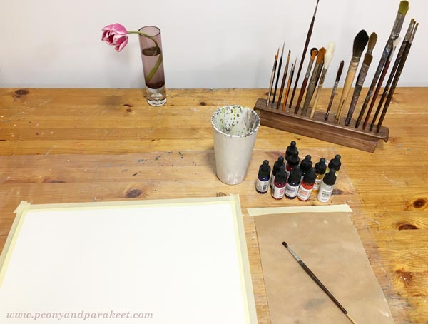 Starting a watercolor painting. Dr Ph Martin's Hydrus Liquid Watercolors and a real tulip as a reference.