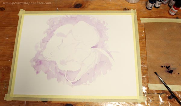 Sketching with watercolor. By Paivi Eerola from Peony and Parakeet.