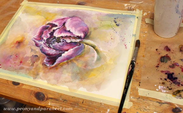 Splashing watercolor on the background. A floral painting by Paivi Eerola from Peony and Parakeet. See her 6 tips for expressive floral art!
