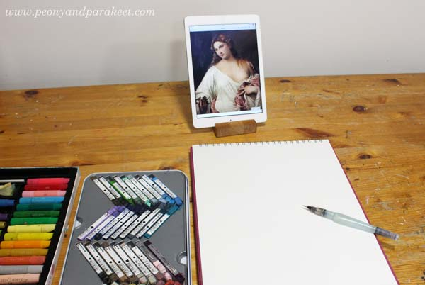 Derwent Artbars, Faber-Castell Gelatos, and a waterbrush ready for making a sketchbook page.