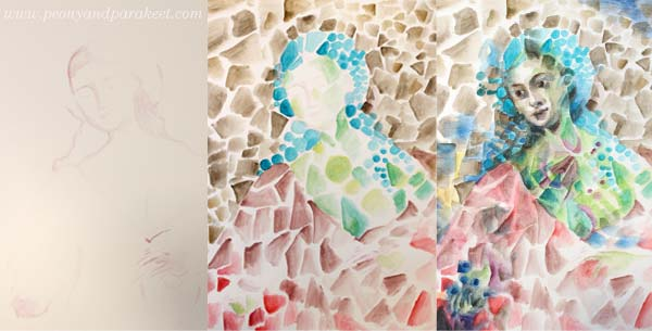 First steps of an intuitive painting that also uses a reference image. By Paivi Eerola from Peony and Parakeet.