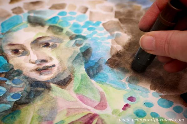 Making an intuitive painting by using a reference image to some parts. By Paivi Eerola from Peony and Parakeet.