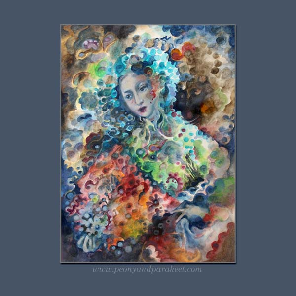 Madama Butterfly, an intuitive painting from the sketchbook of Paivi Eerola from Peony and Parakeet
