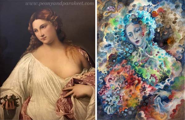 Tiziano Vecellio's painting Flora, and a painting from Paivi Eerola's sketchbook. See how she used the reference for the painting!