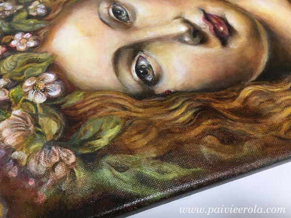 Original art. A detail of an acrylic painting by Paivi Eerola from Peony and Parakeet.