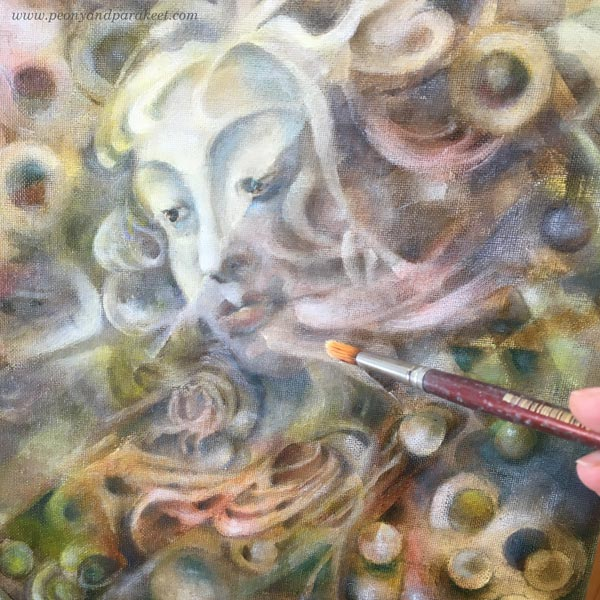 Oil painting in progress. By Paivi Eerola from Peony and Parakeet.