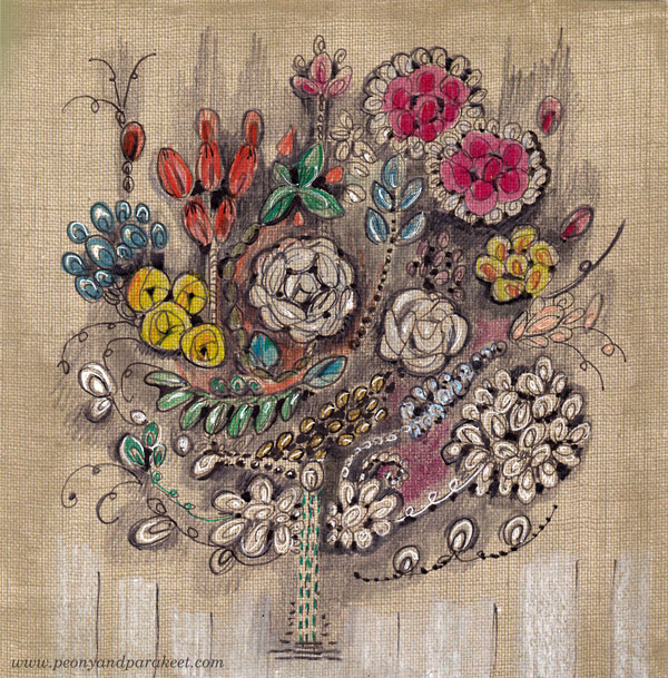 Embroidered Ornament, colored pencils on scrapbook paper by Paivi Eerola from Peony and Parakeet