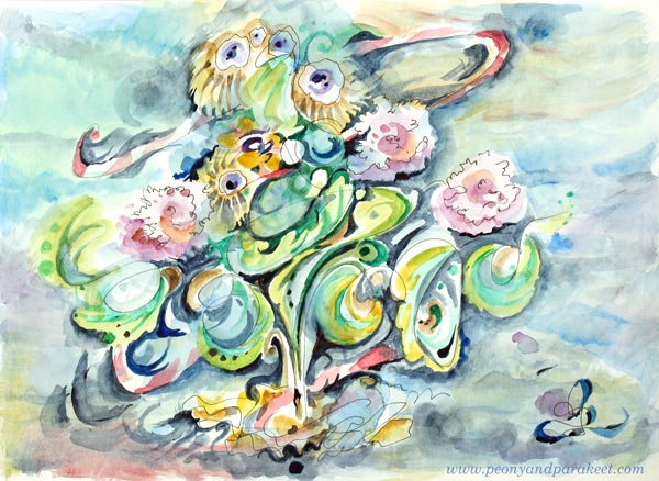 Loose Rococo, a watercolor painting by Paivi Eerola from Peony and Parakeet