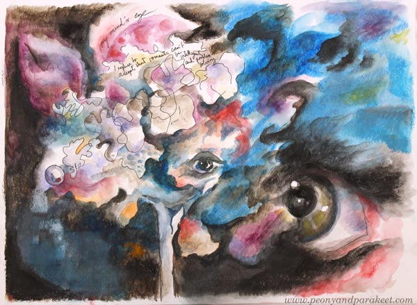 My Mind's Eye, a mixed media painting by Paivi Eerola from Peony and Parakeet