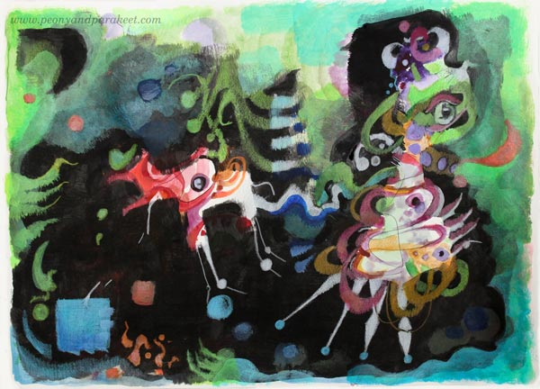 Walking the Dog, an abstract mixed media drawing by Paivi Eerola from Peony and Parakeet.