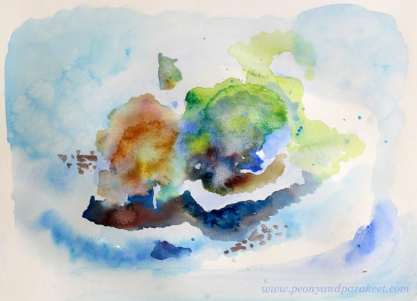 Painting in progress by Paivi Eerola by Peony and Parakeet. Daniel Smith watercolors.