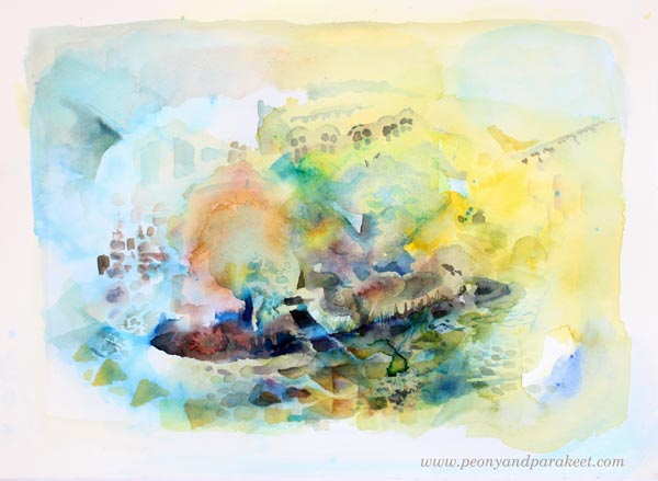 Painting in progress by Paivi Eerola from Peony and Parakeet. Daniel Smith watercolors.