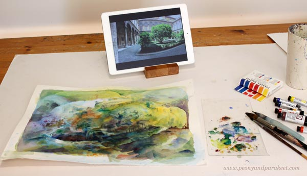 Painting with Daniel Smith watercolors. By Paivi Eerola from Peony and Parakeet. See her project of painting loosely from the photo.