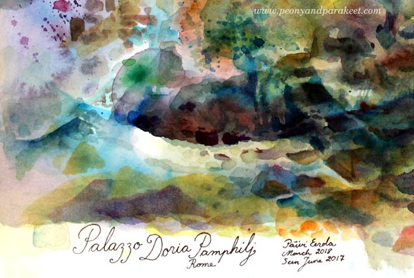 Palazzo Doria Pamphilj, a watercolor painting with Daniel Smith Watercolors by Paivi Eerola from Peony and Parakeet. A detail with a signature.
