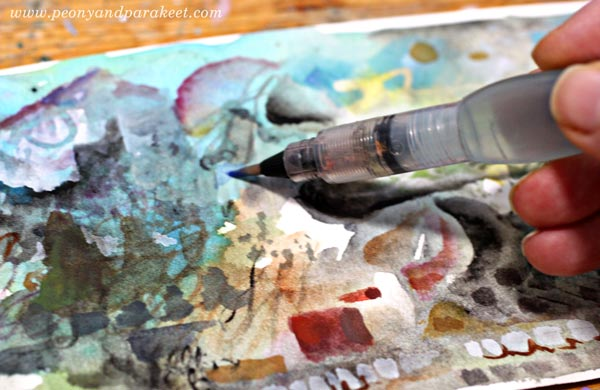 Painting watercolor panoramas by Paivi Eerola from Peony and Parakeet