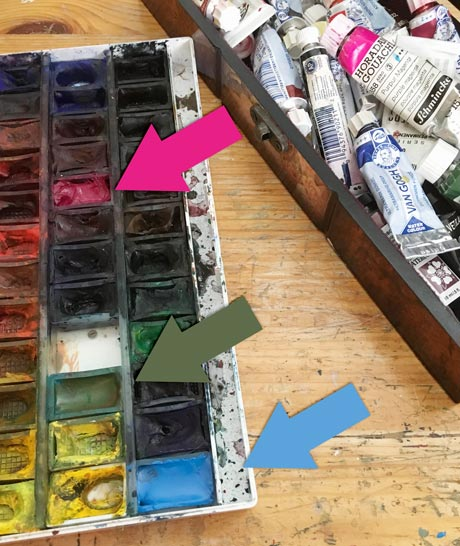 Filling watercolor pans with tube paint. By Paivi Eerola from Peony and Parakeet. Read about her approach to minimalism!