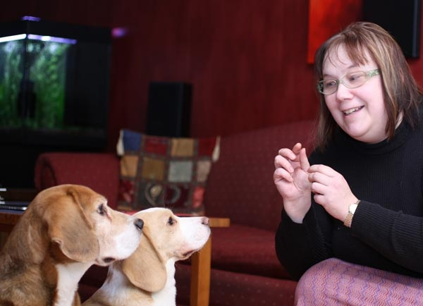 Paivi Eerola and her beagles. Read how she works from home with her pets!