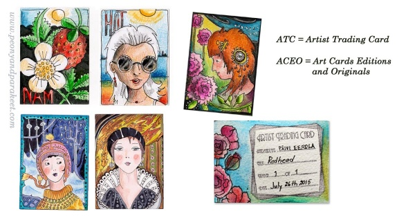 ATC cards by Paivi Eerola from Peony and Parakeet
