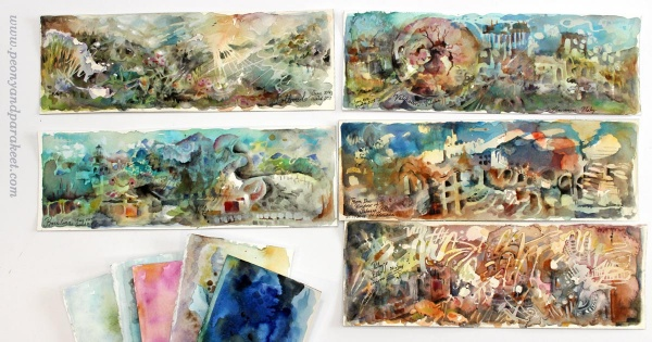 Watercolor panoramas by Paivi Eerola from Peony and Parakeet.