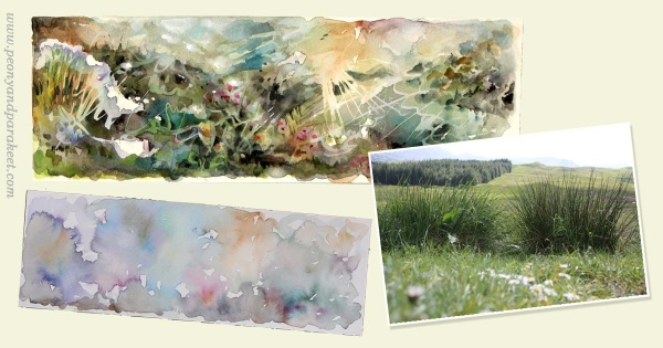 Creating a watercolor panorama by Paivi Eerola from Peony and Parakeet.