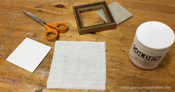 Preparing a small canvas painting by Paivi Eerola from Peony and Parakeet