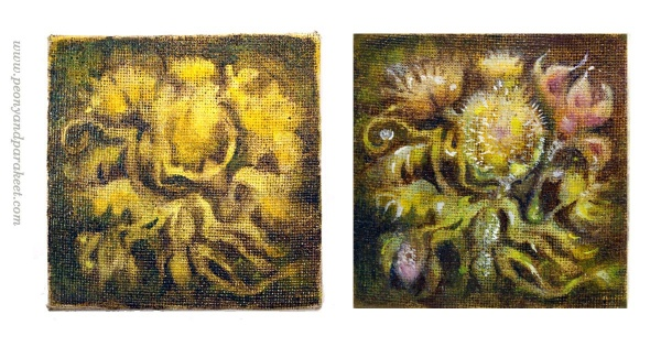 Small-sized art. Painting a small canvas painting with oils. By Paivi Eerola from Peony and Parakeet.