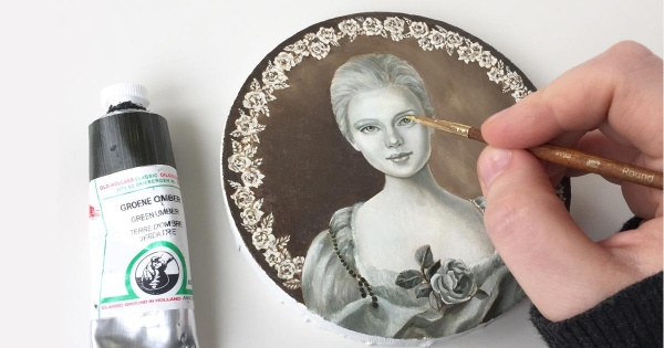 Miniature painting in progress. By Finnish fantasy artist Eeva Nikunen.