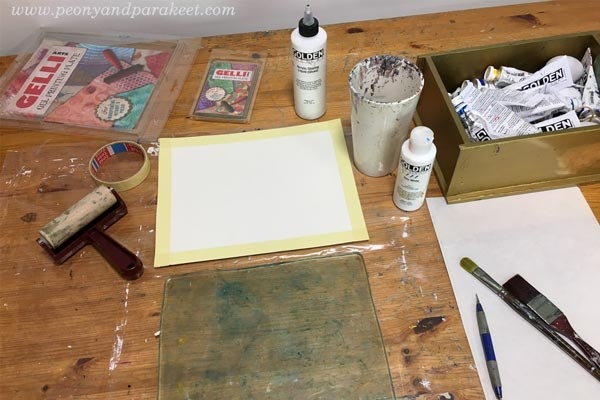 Gelli printing ideas by by Paivi Eerola from Peony and Parakeet. See her blog post for how to create fine art with a Gelli plate!