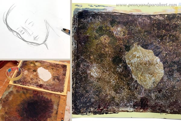 Drawing a stencil for Gelli printing. See how she continued this project with a Gelli plate!