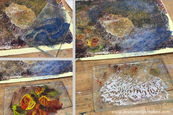 Using a small Gelli plate as a stamp. See Paivi Eerola's blog post for more ideas and instructions!
