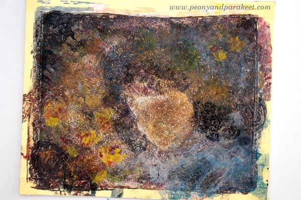 A monoprint in progress. See how this project was finished!