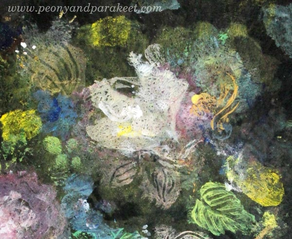 A detail of a painting made with Gelli Plate only! By Paivi Eerola from Peony and Parakeet. See the process pictures!