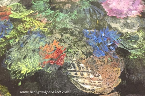 Paivi Eerola's still life in progress. She made this with Gelli Plate only!