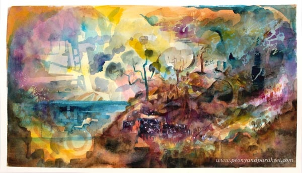 Resort of Imagination. A watercolor painting by Paivi Eerola from Peony and Parakeet. See her class Watercolor Journey for expressive watercolor techniques!