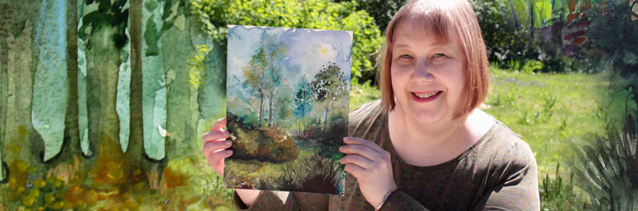 Paivi Eerola and her watercolor pieces. Sign up for her class Watercolor Journey!