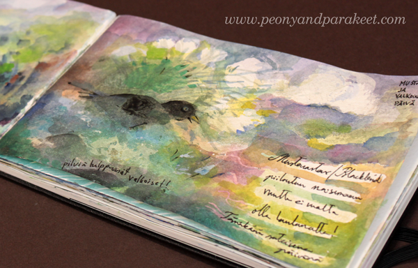 Moleskine Watercolor Notebook as an art journal. By Paivi Eerola from Peony and Parakeet.