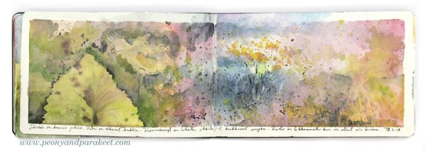 Morning Dew. Watercolor art journal spread by Paivi Eerola from Peony and Parakeet. See her watercolor diary for more ideas!