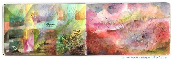 Watercolor art journal spread by Paivi Eerola from Peony and Parakeet. See her watercolor diary for more ideas!