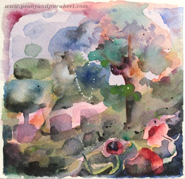 A small watercolor painting by Paivi Eerola from Peony and Parakeet. Watch her video of painting this and how she fills the plain background!