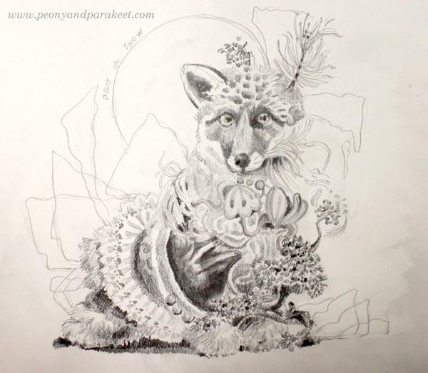 Best in Show, a whimsical graphite pencil sketch by Paivi Eerola from Peony and Parakeet.